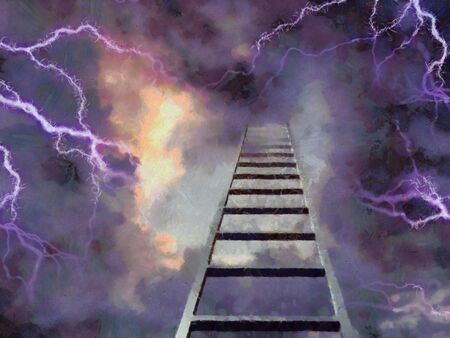 Surreal painting. Stairway to Heaven. Clouds and lightnings. Banco de Imagens
