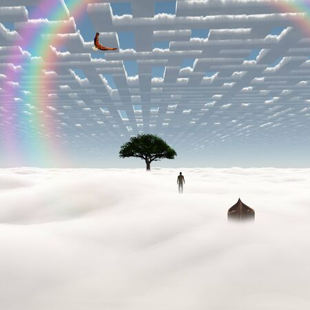 Man stands before green tree in surreal sky