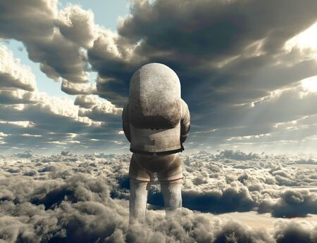 Astronaut in clouds. Modern surreal art