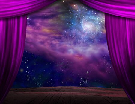 Starry sky behind the purple stage curtains
