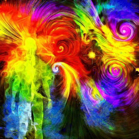 Surreal oil painting. Human's spirit in vivid colorful universe.