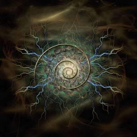 Surreal painting. Spiral of time and lightnings. 3D rendering Foto de archivo - 150559071