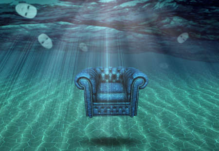 Floating Submerged Chair and Face Masks. 3D rendering