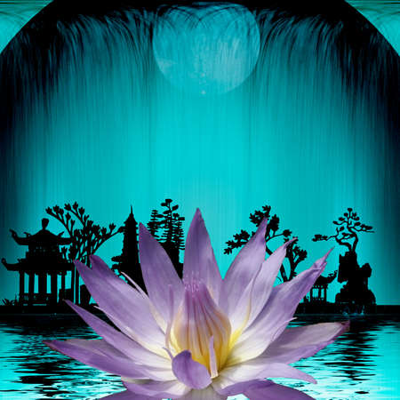 Lotus flower and silhouettes in asian style Stockfoto