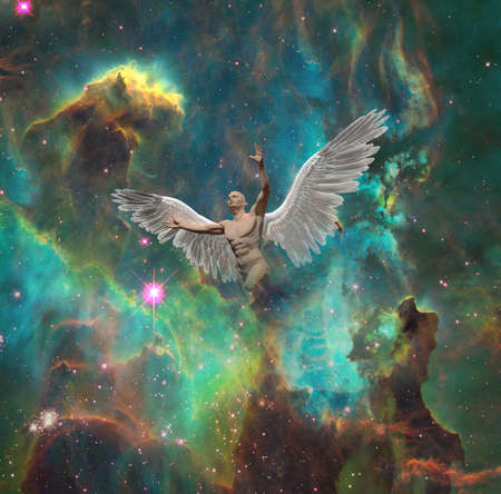Angel in space Stock Photo