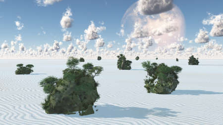 White Sands with Rock Islands Oasis. 3D rendering