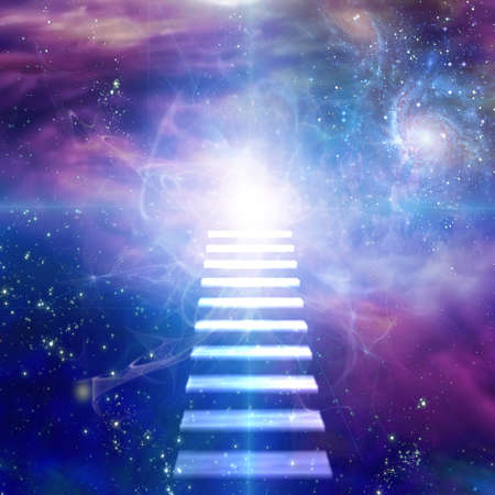 Steps up into vivid space. 3D rendering
