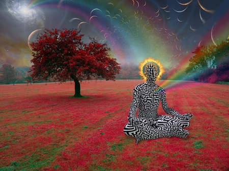 Man with burning halo meditates in lotus pose. Endless dimensions in the sky above surreal landscape. 3D rendering