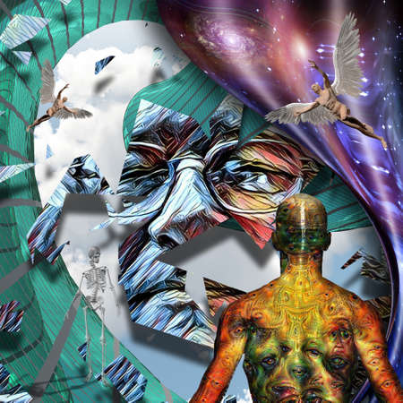 Surrealism. Mans face in glasses. Man with wings represents angel. Man with weird demonic eyes on skin. Warped space. 3D rendering Stock Photo