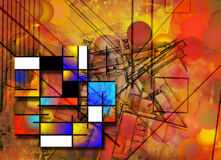 Colorful geometric abstract. 3D rendering