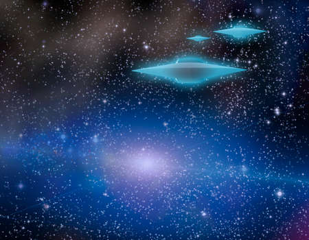 Flying saucers in starry space. 3D rendering