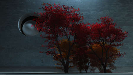 Red trees in cold industrial space. 3D rendering