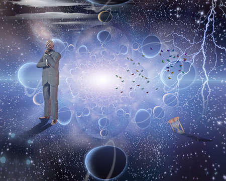 Thinker in space 写真素材