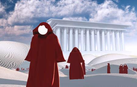 Surreal desert. Faceless figures in cloaks. White Temple on a horizon. 3D rendering Imagens