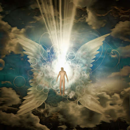 Surrealism. Man walks to the bright light between white wings. 3D rendering