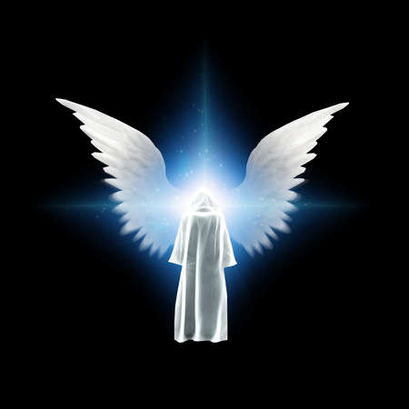 Surreal digital art. Figure in white cloak stands before bright light with angels wings. 3D rendering Banque d'images