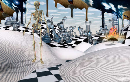 Surreal desert with chess figures. Eagle in the sky. Skeleton and burning tree. Another dimension flowing down. 3D rendering