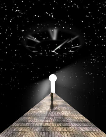 Figure of man walking on stone road to the keyhole in space. 3D rendering Banque d'images