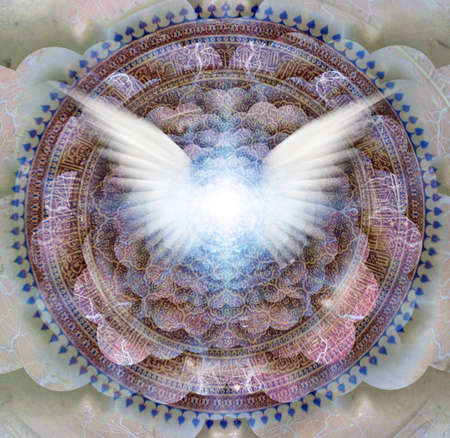 Shining wings in a center of Indian mandala. Multi-layered spaces representing endless dimensions. 3D rendering