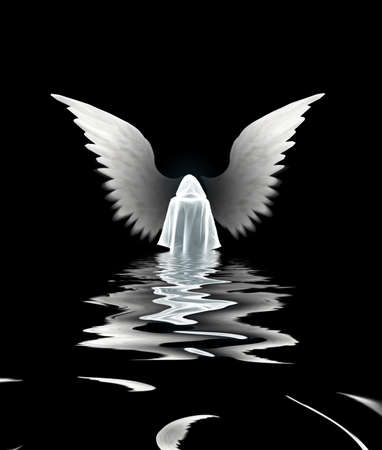 Submerged Angel. White monk and wings. 3D rendering
