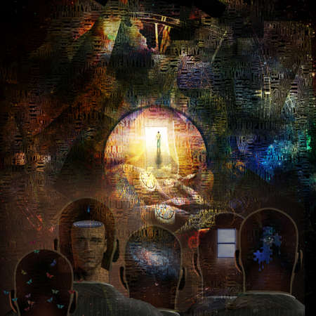 Surrealism. Figure of man on road to Heaven. Men heads with different thoughts inside. Words. Winged clocks represents flow of time. 3D rendering Stockfoto