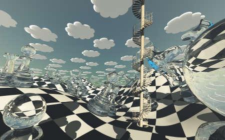 Surreal Chess board Landscape. 3D rendering