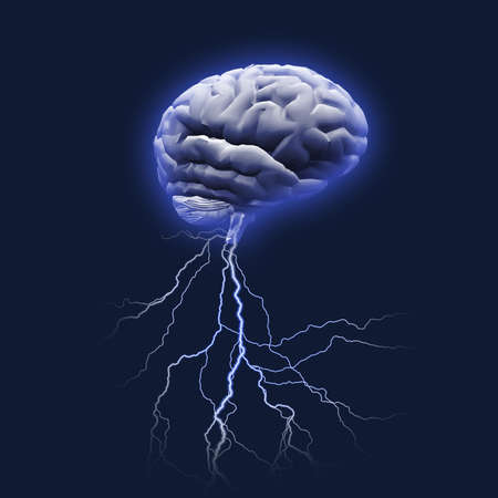 Brain storm. Lightnings comes put from human mind. 3D rendering