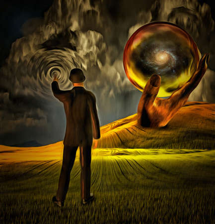 Surreal painting. Man in suit causes ripple in the sky. Giant hand holds sphere with galaxy inside. 3D rendering