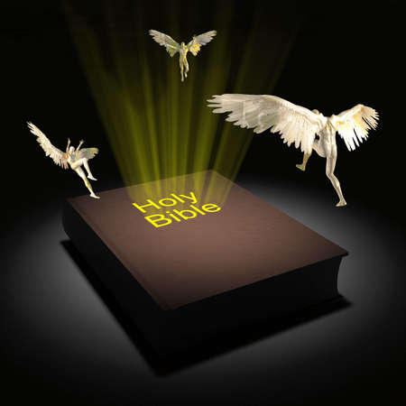 Winged angels fly over the Holy Bible. 3D rendering