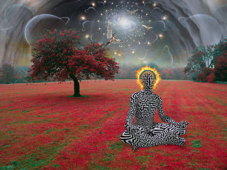 Spiritual composition. Man meditates in lotus pose in surreal landscape. Angels and eye of God. 3D rendering