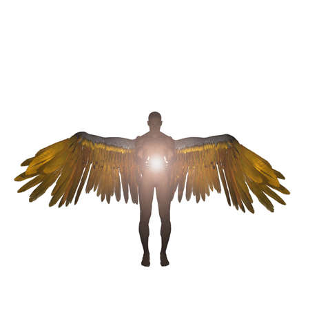 Angel holds holy light. 3D rendering