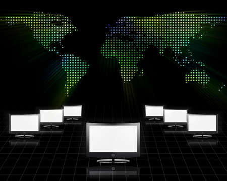 Global Communications. Network with screens. 3D rendering Banco de Imagens
