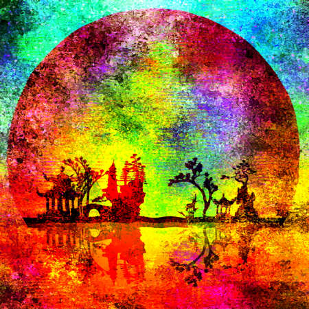 Colorful Asian night silhouettes. 3D rendering Banque d'images