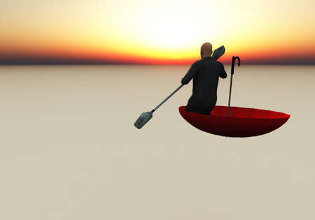 Surreal composition. Escape from reality. Man floats in red umbrella. 3D rendering