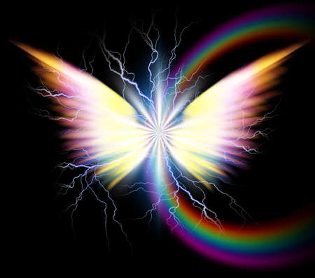 Angel wings and rainbow. 3D rendering Banque d'images