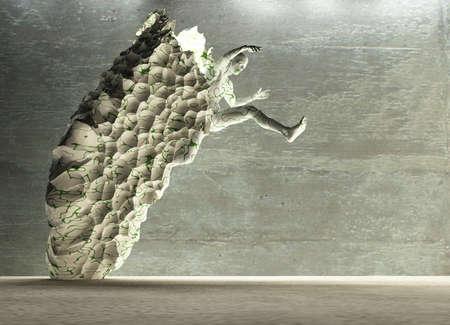 Men figure made of stone. 3D rendering