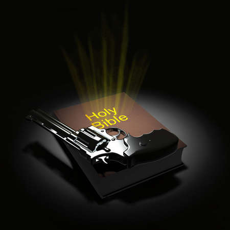 Holy Bible and revolver. 3D rendering 版權商用圖片