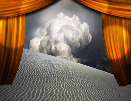 Desert sands seen through opening in curtains. 3D rendering 版權商用圖片