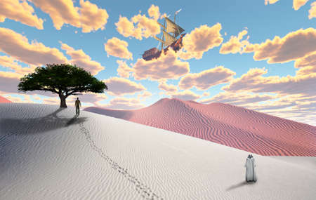 Surreal white desert with figure in cloak. Man in a distance. Ancient ship in the sky. 3D rendering Stock Photo
