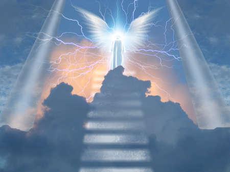 Angelic being atop stairway to heaven. 3D rendering
