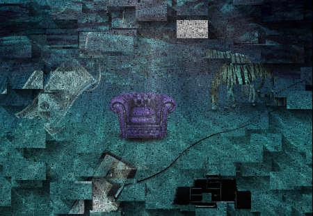 Purple armchair on a sea bottom. Striped horse, TV, dollar on a hook. 3D rendering