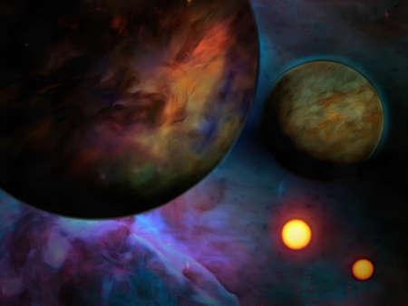 Exo-Solar Planet Painting. 3D rendering Foto de archivo