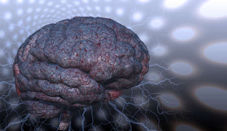 Psychedelic background and human brain. 3D rendering Stockfoto