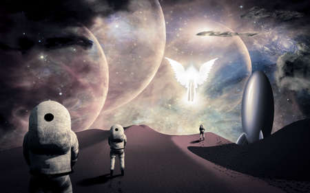 Astronauts on alien planet and their rocket ship greeted by angelic glowing winged figure. 3D rendering