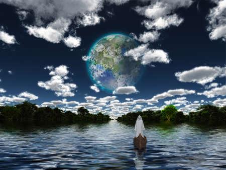 Figure in cloak floats in boat towards terraformed moon. 3D rendering