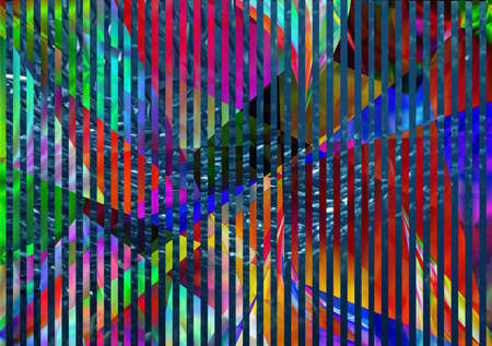 Abstract background with stripes and fish school. 3D rendering Фото со стока