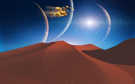 Space journey. Red alien desert. 3D rendering