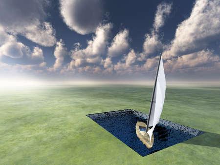 Landlocked Boat afloat in useless pool. 3D rendering