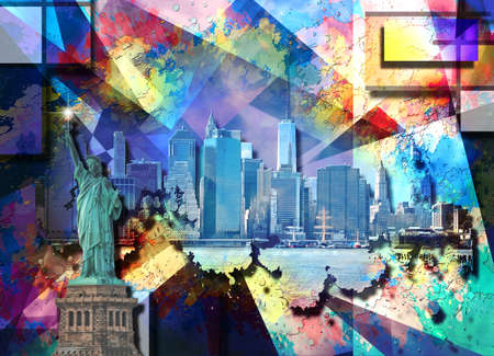 Abstract colorful composition. New York cityscape and Liberty statue. 3D rendering