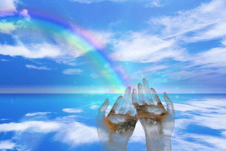 Rainbow ends in Hands. 3D rendering